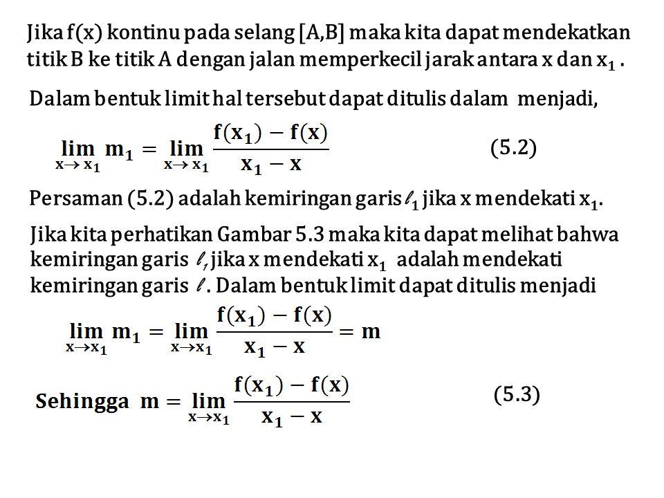 Jika f(x) kontinu pada selang [A,B] maka kita dapat mendekatkan